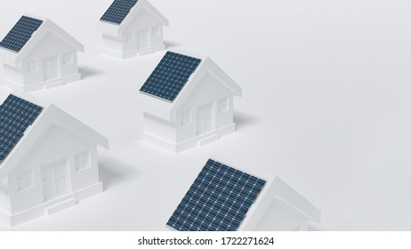 Green energy and clean ecological energy concept.  Solar house s. 3D Rendering.