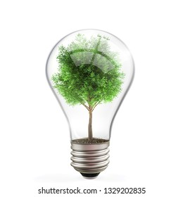 Green energy concept, tree inside light bulb on white background  3d illustration