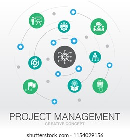 green energy creative system concept. Digital mesh grid concept idea. Delegation, Project presentation, Milestone, Project control, Employee management UI icons