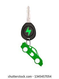 Green energy electric car and Eco-friendly environmental protection concept. Electric car key with green leaves keyring in sports car shape, isolated on blue background. 3D illustration.