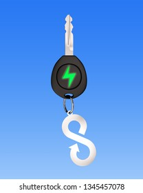 Green energy electric car, lightweight high strength speed and circular economy concept. Electric car key with sheet metal keyring of infinity arrow symbol, on blue background. 3D illustration.