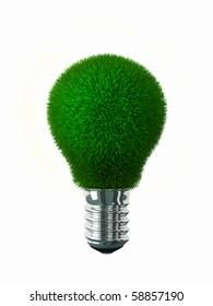Green energy Green grass on lightbulb surface