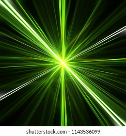 Green explosion of blurry lines. 3d illustration