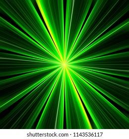 Green explosion of lines. 3d illustration
