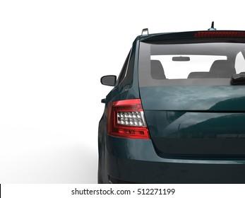 Green family car - back view - taillight closeup shot - 3D Illustration