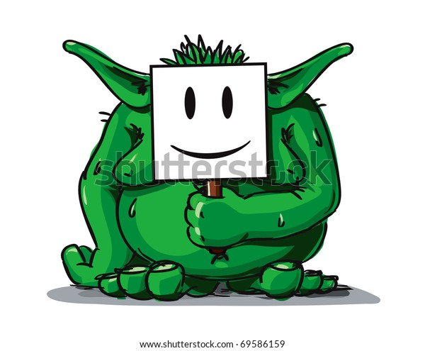 Green fat troll with smiley white avatar