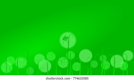 Green field  with sprouts of a conventional plant and spots of light abstract illustration in HD proportions.