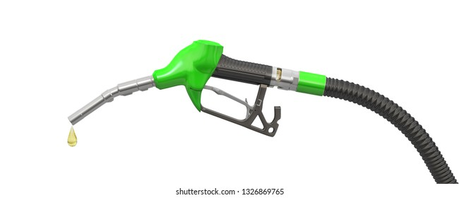 Green filling pistol (petrol pistol or oil dispenser) and a drop of petrol. 3d illustration. Isolated on white background.