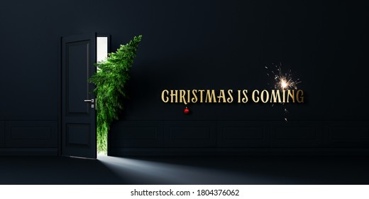 Green fir tree enters the door, Christmas is coming concept background 3D Rendering, 3D Illustration