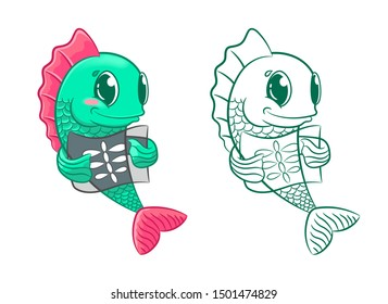 Green fish with x-ray. Picture and coloring