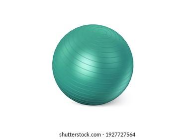 Green  fitness ball isolated on white background. Pilates Blue Ball render. Fitball 3D rendering Model