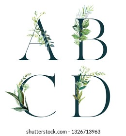 Green Floral Alphabet Set - letters A, B, C, D with botanic branch bouquet composition. Unique collection for wedding invites decoration and many other concept ideas.
