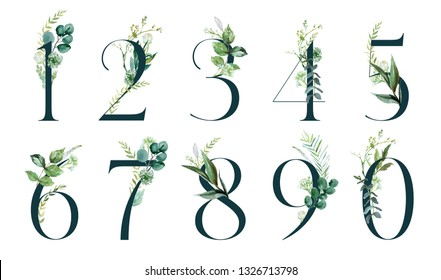 Green Floral Number Set - digits 1, 2, 3, 4, 5, 6, 7, 8, 9, 0 with botanic branch bouquet composition. Unique collection for wedding invites decoration & other concept ideas.