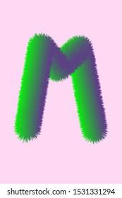 Green fluffy letter M on pink background in jpeg (3D illustration)