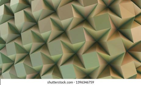 Green folding paper. Origami background. 3D illustration