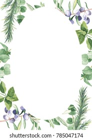 Green foliage frame template with olive, eucalyptus tree branches, rosemary. Watercolor hand drawn illustration 3