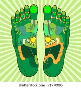 green foot, symbolic for foot reflexology