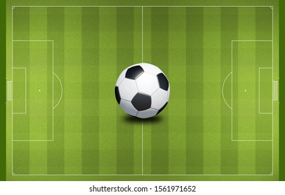 green football grass pitch with traditional black and white ball in center to play soccer game aerial top down view. Sport stadium playing area background. Volumetric light 3D illustration