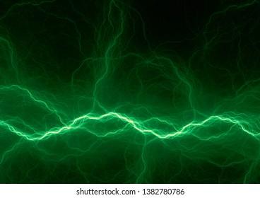 Green fractal lightning, abstract plasma background