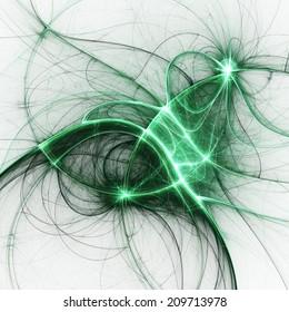 Green fractal thread, digital artwork for creative graphic design