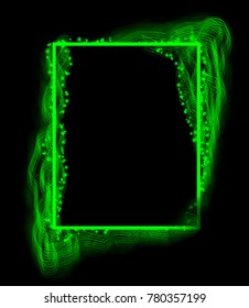 green frame on a black background. Photo frame.green square.green rectangle.background for writing text.beautiful introduction, cover.glowing lines.neon frame.linear brush. front page. green figure