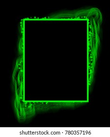 green frame on a black background.Photo frame.green square.green rectangle.background for writing text.beautiful introduction, cover.glowing lines.neon frame.linear brush. front page. green figure