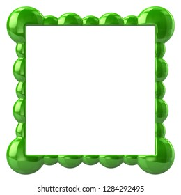 Green frame for painting 3d illustration on white background