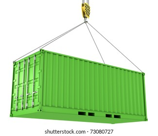 Green freight container hoisted, isolated on white background