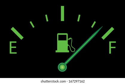 Green fuel indicator illustration on black background. Raster version of abstract isolated fuel design.