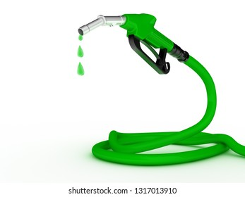 Green fuel nozzle with golden droplet on white background. 3D rendering illustration
