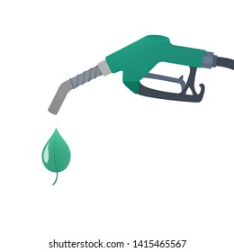 Green fuel pump with drop of ecology friendly oil. Bio fuel for automobile. Stop pollution concept. Isolated flat  illustration