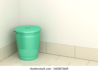 Green garbage bin in the room, 3D illustration