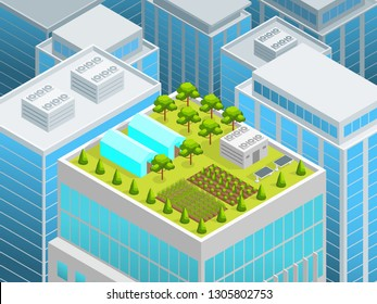 Green Garden on The Roof Concept 3d Isometric View Urban Architecture Elements Landscape Background Scene. illustration