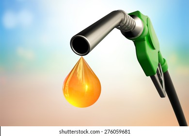 Green gas nozzle with one last drop on Blurred background.clipping path