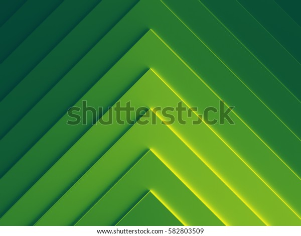 Green geometric abstract background image. 3D illustration. Works for text and website background, print and mobile application.