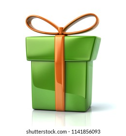 Green gift box with golden ribbon and bow 3d illustration on white background