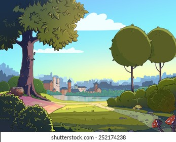 Green glade cartoon landscape background. Raster colorful illustration of a park near a town.