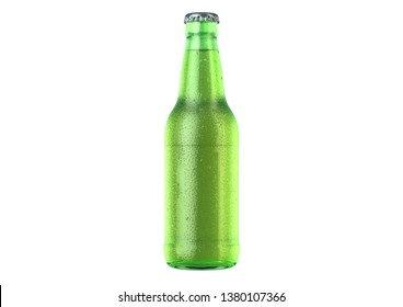 A green glass beer bottle covered in water spritz and condensation droplets on an isolated white studio background - 3D render