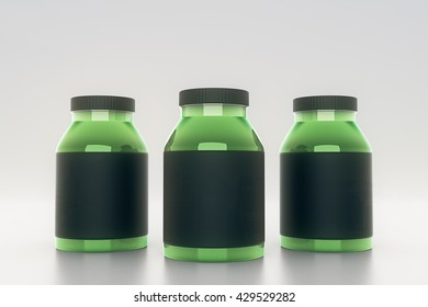 Green glass bottles with empty black labels on light background. Mock up, 3D Rendering