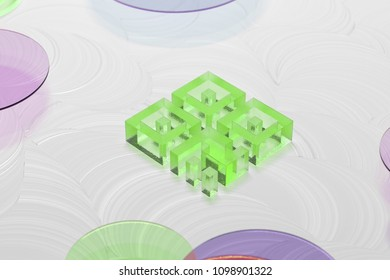 Green Glass Qrcode Icon on the White Oil Background. 3D Illustration of Green Barcode, Code, Qr, Qrcode, Quick Response, Scan Icon Set on the White Background.