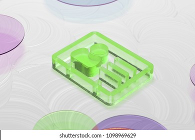 Green Glass Vcard Icon on the White Oil Background. 3D Illustration of Green v Card, v Card, Vcard, Vcard File, Vcard File Icon Set on the White Background.