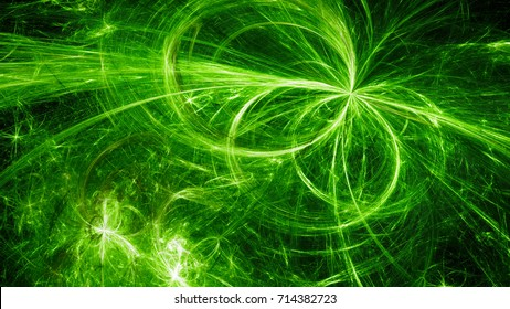 Green glowing electromagnetic plasma fields in space, computer generated abstract background, 3D rendering