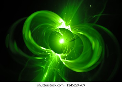 Green glowing spinning neutron star, computer generated abstract background, 3D rendering