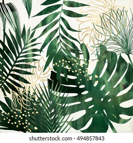 green and gold exotic leaves printable wall art