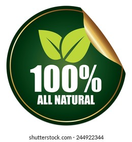 Green and Gold Metallic 100% All Natural Sticker, Icon or Label Isolated on White Background