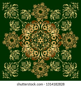 Green and golden pattern for your designs and backgrounds. Vintage ornament. Modern geometric seamless pattern for wrapping paper, fabric or textile.