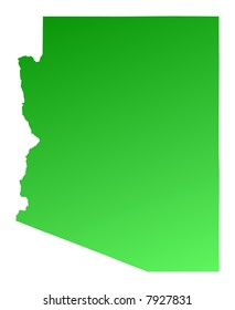 Green gradient Arizona map, USA. Detailed, Mercator projection.