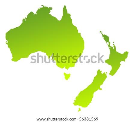 Map Australia And New Zealand.Green Gradient Map Australia New Zealand Stock Illustration