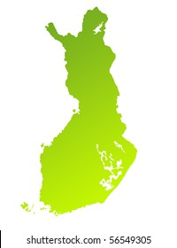 Green gradient map of Finland isolated on a white background.