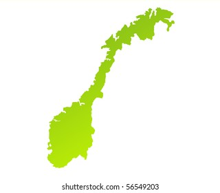 Green gradient map of Norway isolated on a white background.